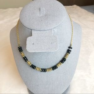 2/$20 Black & Gold Beaded Necklace With Gold Chain